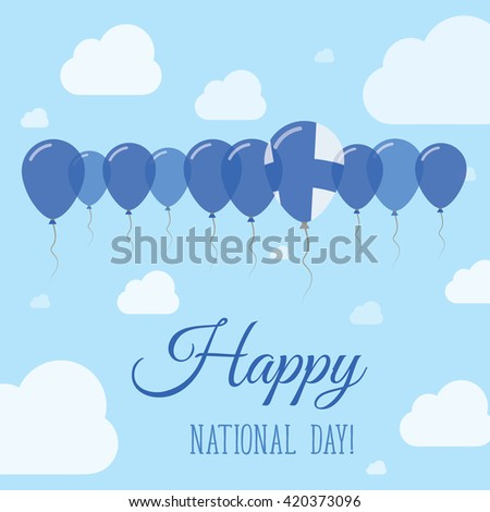 Finland National Day Flat Patriotic Poster. Row of Balloons in Colors of the Finnish flag. Happy National Day Card with Flags, Balloons, Clouds and Sky. - stock vector
