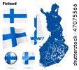 Finland vector set. Detailed country shape with region borders, flags and icons isolated on white background. - stock photo