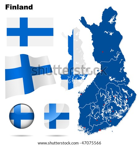 Finland vector set. Detailed country shape with region borders, flags and icons isolated on white background. - stock vector