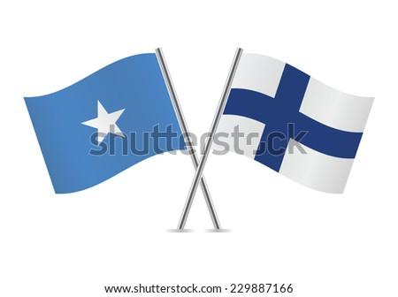 Finnish and Somali flags. Vector illustration. - stock vector