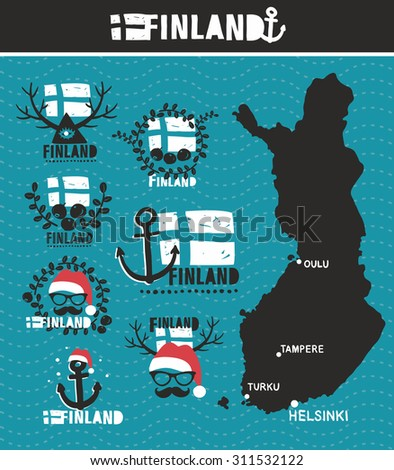Finnish map and labels. Vector set of illustrations. - stock vector