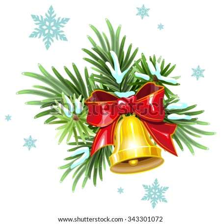 Fir branches, red ribbon and golden bell. Christmas Decoration. Illustration in vector format - stock vector