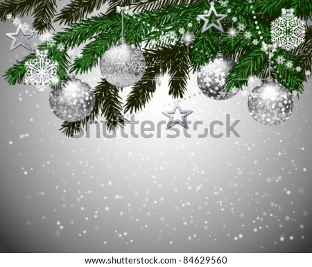 Fir branches with Christmas decoration - stock vector