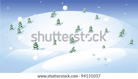 Fir trees over snow capped landscape