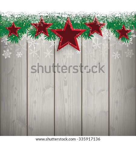 Fir twigs with snow and red stars on the wooden background. Eps 10 vector file. - stock vector