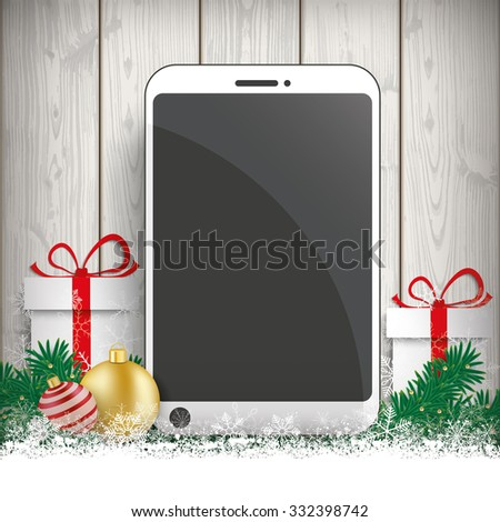 Fir twigs with snow, smartphone gifts and baubles on the wooden background. Eps 10 vector file. - stock vector