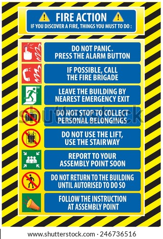 Fire Action Emergency Procedure / Evacuation Procedure (do not panic, press alarm button, call fire brigade, emergency exit, report to assembly point, follow instruction). - stock vector
