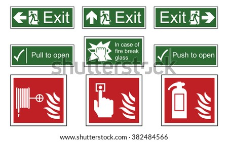 Fire and emergency exit sign set isolated on white background