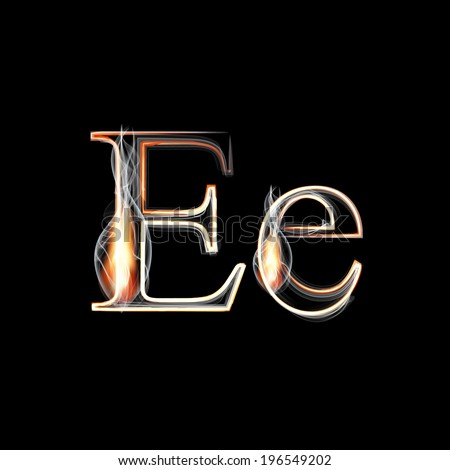 Fire and Smoke font. Letter E. Vector illustration. - stock vector