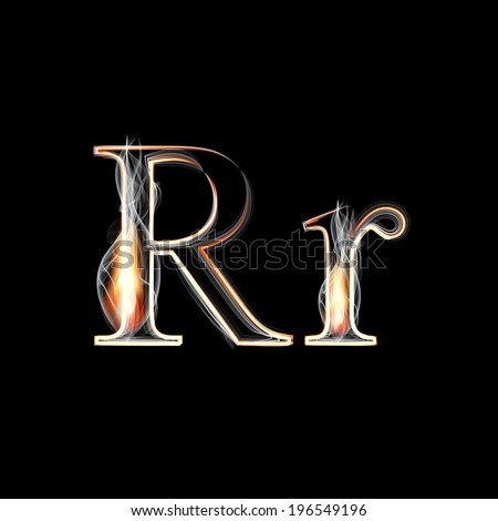 Fire and Smoke font. Letter R. Vector illustration. - stock vector