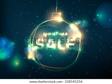 fire ball Christmas sale hot banner. Vector background with christmas decoration for your design.Christmas sale card - stock vector