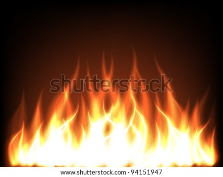 Fire border in darkness - stock vector