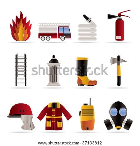 fire-brigade and fireman equipment icon - vector icon set - stock vector