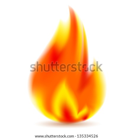 Fire, bright flame on white background. Vector illustration 10eps - stock vector