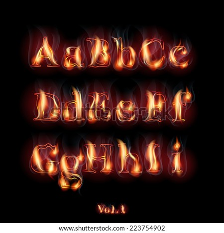 Fire Burning Latin Alphabet Letters. Set Vol.1 A-I - stock vector
