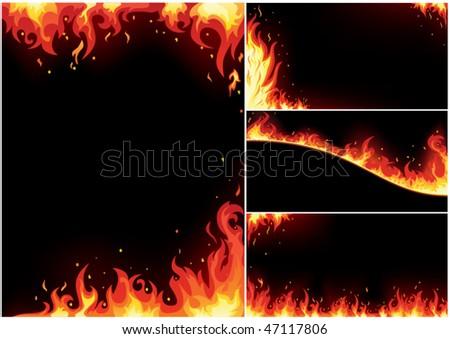 Fire business card set - stock vector
