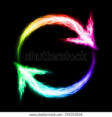 Fire circular arrows in spectrum colors on black background - stock vector