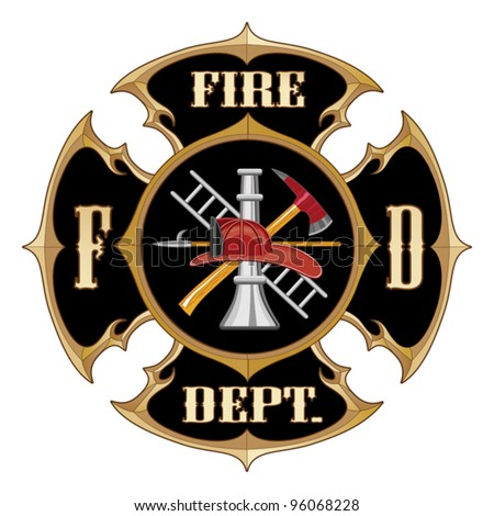 Fire Department Maltese Cross Vintage is an illustration of a vintage fire department Maltese cross with full color firefighter logo inside. - stock vector
