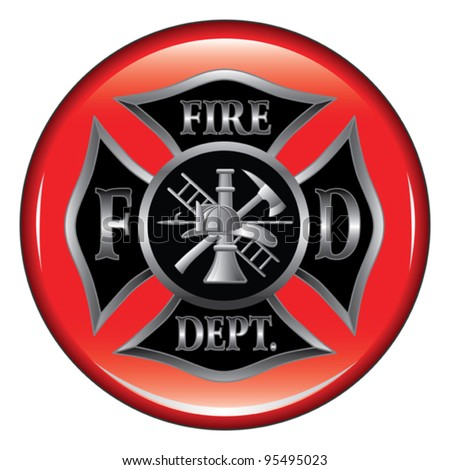 Fire Department or Firefighter's  Maltese Cross Symbol on a button illustration. - stock vector
