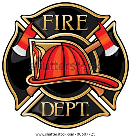 Fire Department or Firefighters Maltese Cross Symbol - stock vector