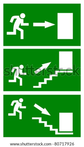 Fire emergency exit signs, vector illustration - stock vector