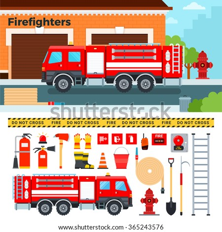 Fire-engine vector flat illustrations. Firefighters truck standing on the street. Emergency concept. Fire-engine, harmer, tube, stairs, other fire equipment isolated on white background - stock vector