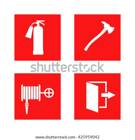 Fire equipment signs vector and fire safety sign danger security. Red fire safety sign and hazard evacuation exit fire safety sign. Fire safety sign precaution extinguish pressure foam. - stock vector