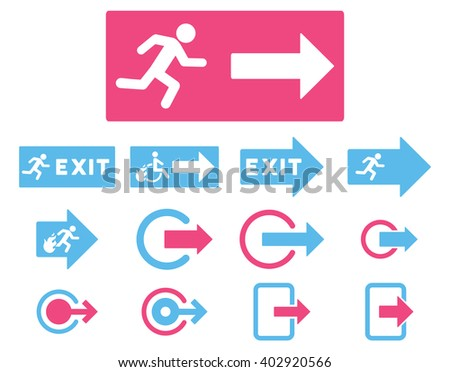 Fire Exit vector icon set. Style is bicolor pink and blue flat symbols isolated on a white background. - stock vector
