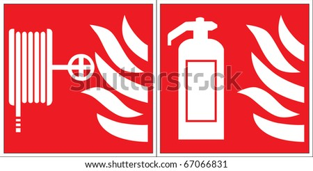 fire extinguisher and fire hose signs - stock vector