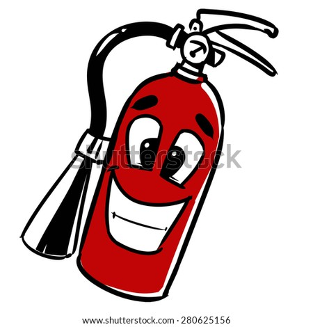 fire extinguisher. cartoon vector illustration, hand drawn, sketch style, isolated on white background. - stock vector