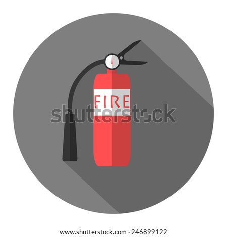 Fire extinguisher flat design icon with long shadow - stock vector