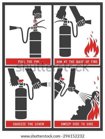 Fire extinguisher label. Fire extinguisher signs. Vector illustration.  - stock vector