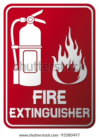 fire extinguisher sign (fire extinguisher symbol, label) - stock vector