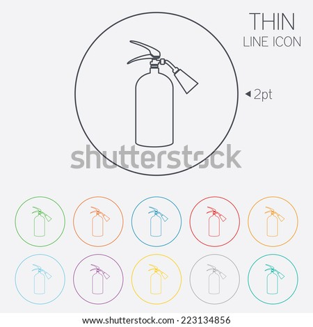Fire extinguisher sign icon. Fire safety symbol. Thin line circle web icons with outline. Vector - stock vector
