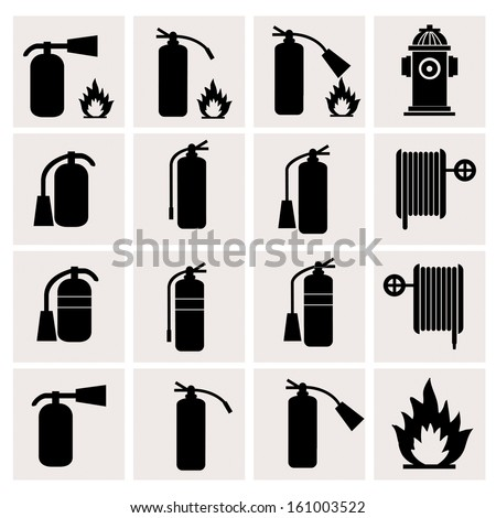 Fire Extinguisher sign icons on white background - stock vector