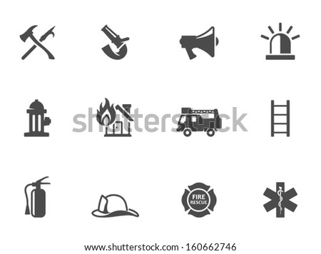 Fire fighter icons in black & white - stock vector