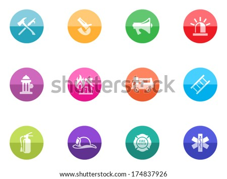 Fire fighter icons in color circles.  - stock vector