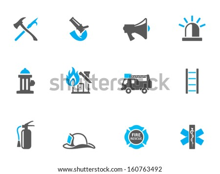 Fire fighter icons in duo tone colors - stock vector
