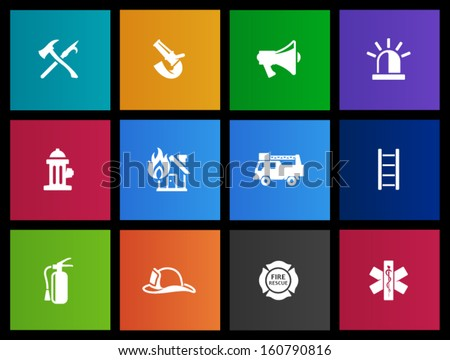 Fire fighter icons in Metro style - stock vector