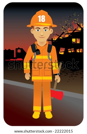Fire fighter in uniform.  Visit my portfolio for more professions and business persons. - stock vector