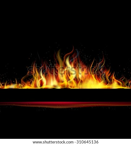 Fire flame on black background. vector - stock vector