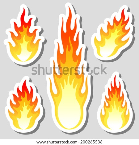 Fire flame stickers set - stock vector