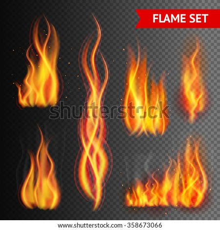 Fire flame strokes realistic isolated on transparent background vector illustration - stock vector