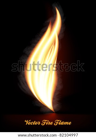 Fire flame with smoke - stock vector