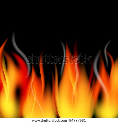 Fire flames and smoke vector background - stock vector