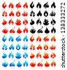 Fire flames, big set icons, vector illustration - stock vector