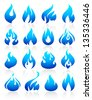 Fire flames blue, set icons, vector illustration - stock vector