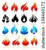Fire flames colorful, set icons, vector illustration - stock vector