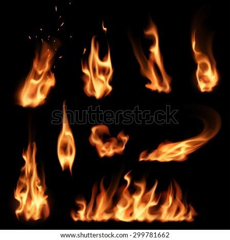 Fire flames set - stock vector