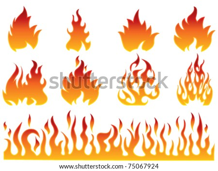 Fire flames set - stock vector